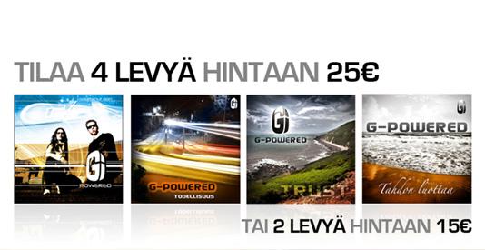 G-Poweredin joulutarjouksessa 4 levy� hintaan 35 euroa